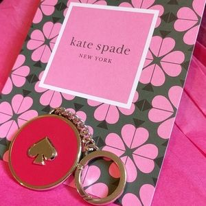 Kate Spade keychain, red and silver